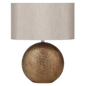 Bronze Ceramic Table Lamp With Oval Shade