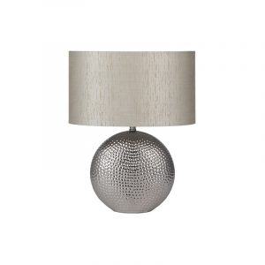 Chrome Ceramic Table Lamp with Oval Shade