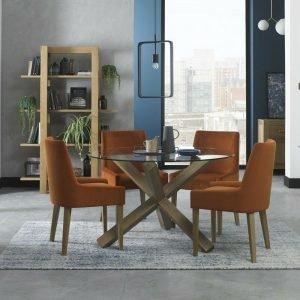 Turin Light Oak Circular Glass Table