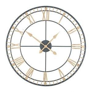 Black and Antique Bronze Round Skeleton Clock