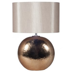 Bronze Textured Ceramic Table Lamp with Oval Shade