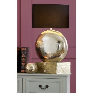 Silver Ceramic Table Lamp Complete with Oval Shade