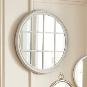 House Grey Wood Round Wall Mirror