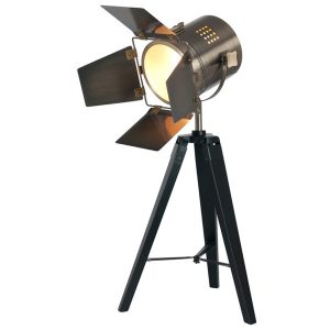 Black Wood and Antique Brass Task Tripod Table Lamp