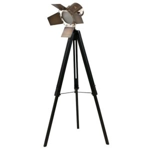 Black Wood and Antique Brass Metal Tripod Floor Lamp