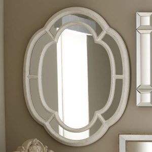 Grey Wood Oval Wall Mirror
