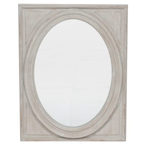Oval Wall Mirror with House Grey Wood Frame