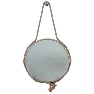 Nickel, Brass, Glass Rope Round Wall Mirror