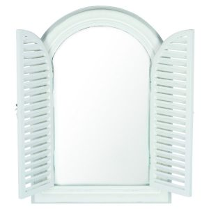 Brushed White Wood Door Framed Wall Mirror