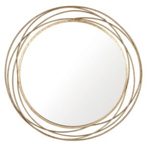 Antiqued Gold Metal Round Wall Mirror