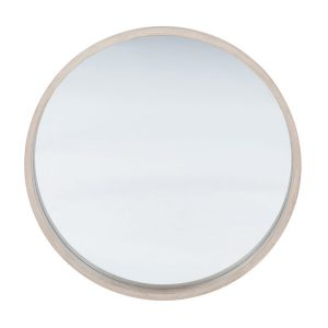 Natural Wood Round Wall Mirror
