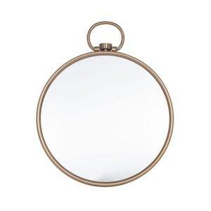 Antiqued Brass Round Wall Mirror