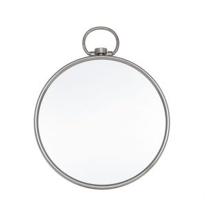 Shiny Nickel Round Wall Mirror