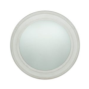 Washed White Wood Round Wall Mirror Large