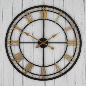 Black and Antique Bronze Round Skeleton Clock