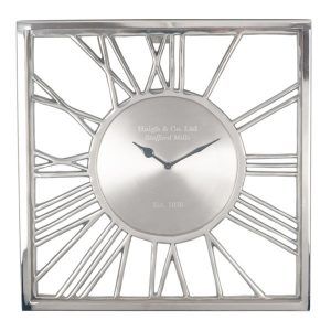 Shiny Nickel and Glass Square Wall Clock
