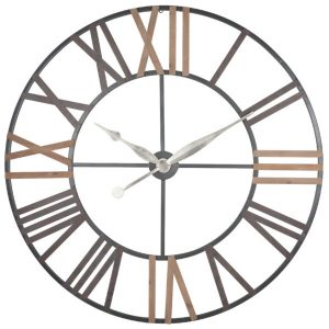 Antique Grey Metal and Wood Round Wall Clock