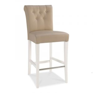 Hampstead Two Tone Upholstered Bar Stool Ivory Bonded Leather (Pair)