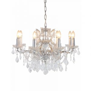 Antique Silver 8 Branch Shallow Chandelier