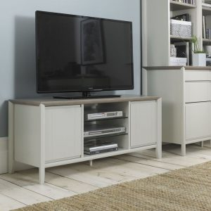 Bergen Entertainment Unit Grey Washed Oak And Soft Grey