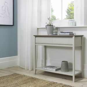 Bergen Console Table with Drawer Grey Washed Oak And Soft Grey