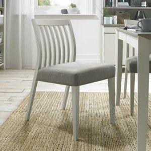 Pair Of Bergen Soft Grey Low Slat Back Dining Chairs – Titanium Fabric