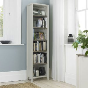 Bergen Narrow Bookcase Grey Washed Oak And Soft Grey