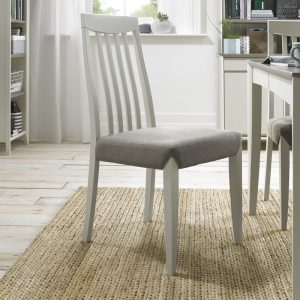 Pair Of Bergen Soft Grey Tall Slat Back Chairs