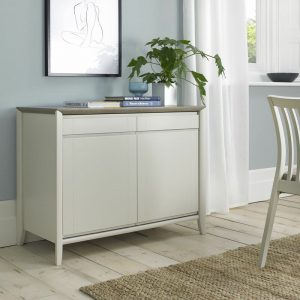 Bergen Narrow Sideboard Grey Washed Oak And Soft Grey