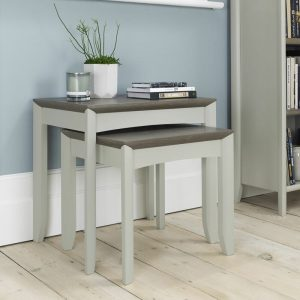Bergen Nest of Lamp Tables Grey Washed Oak And Soft Grey