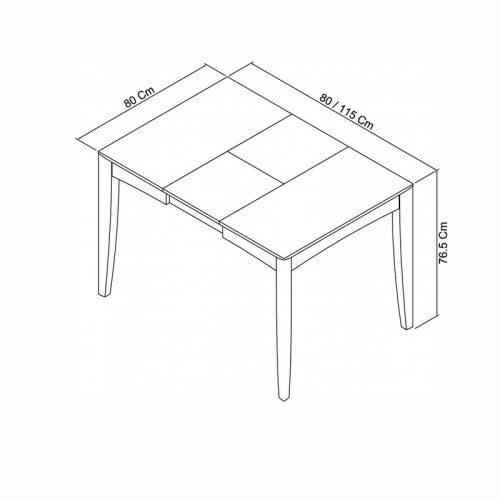 Bergen 2-4 Extension Table dimensions