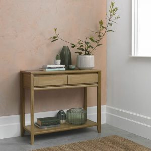 Bergen Oak Console Table with Drawer