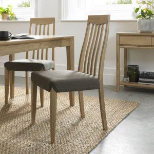 Bergen Oak Slat Back Chair Black Gold Fabric (Pair)