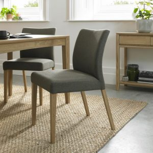 Bergen Oak Upholstered Chair Black Gold Fabric (Pair)