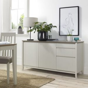 Bergen Wide Sideboard Grey Washed Oak And Soft Grey
