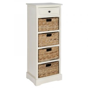 Cream Wood 1 Drawer 4 Basket Tall Unit