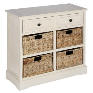 Cream Wood 2 Drawer 4 Basket Storage