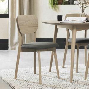 Dansk Oak Veneered Back Chair With Fabric Seat (Pair)