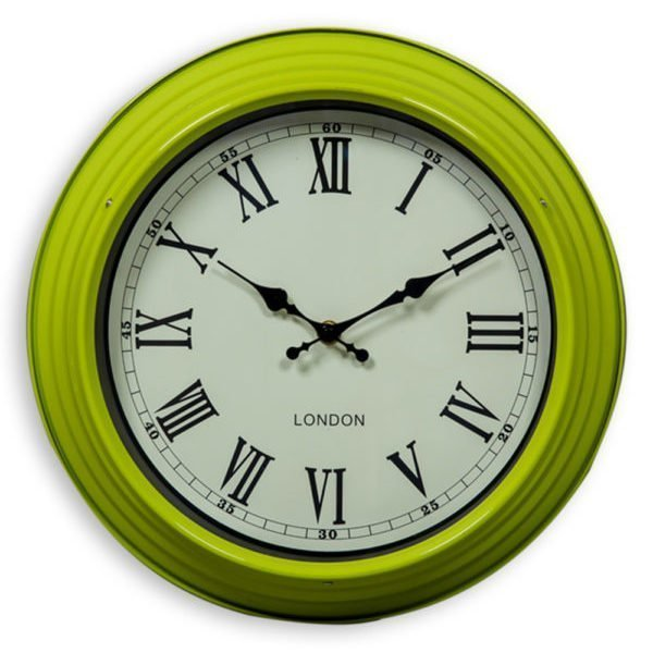 SMALL GREEN AND WHITE WALL CLOCK