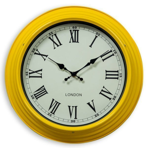 SMALL YELLOW AND WHITE WALL CLOCK