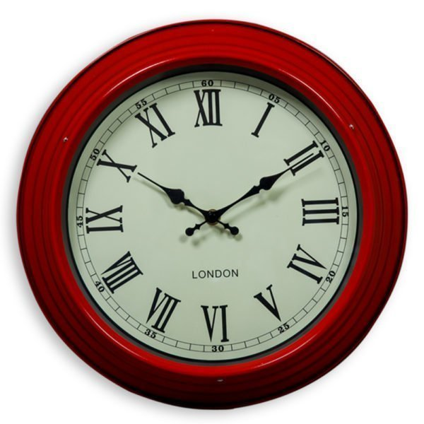 SMALL RED AND WHITE WALL CLOCK