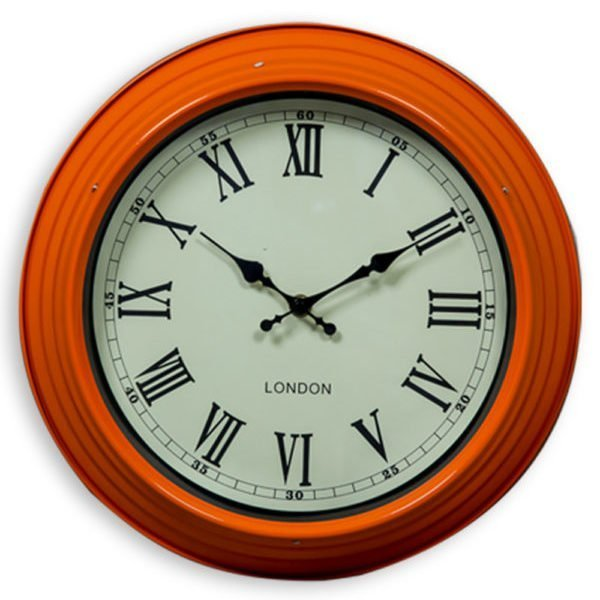 SMALL ORANGE AND WHITE WALL CLOCK