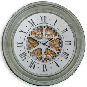 MOVING GEARS WALL CLOCK WITH ANTIQUED GREY/GREEN FRAME AND MIRRORED FACE