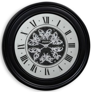 MOVING GEARS WALL CLOCK WITH ANTIQUED BLACK FRAME AND MIRRORED FACE