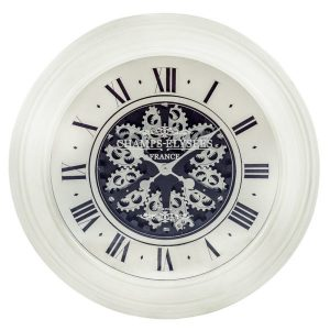 Moving Gears Wall Clock with Antiqued Finish Cream metal frame and Mirrored Face.