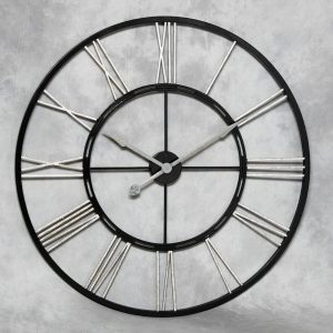 LARGE BLACK AND SILVER IRON SKELETON WALL CLOCK