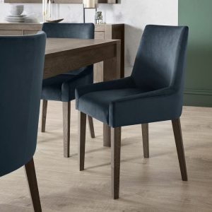 Ella Dark Oak Scoop Back Chair Dark Blue (Pair)