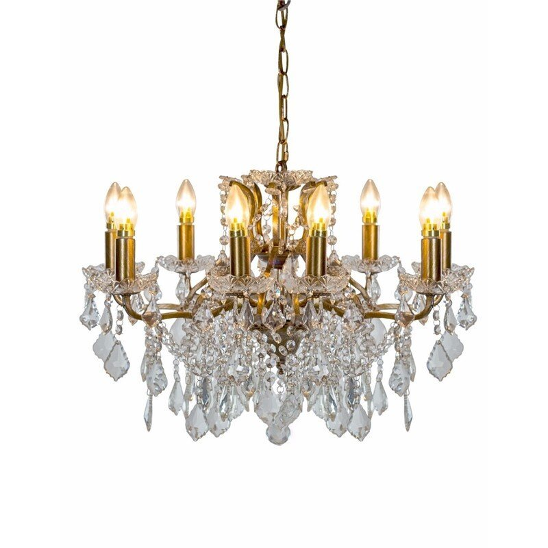 Brushed Gold 8 Branch Shallow Chandelier
