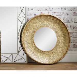 Round Gold Metal Wall Mirror