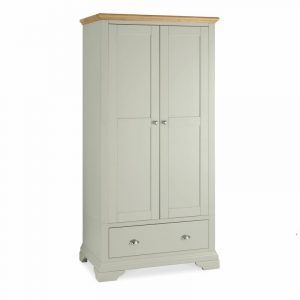 Hampstead Soft Grey And Oak Double Wardrobe